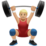 Man Lifting Weights Emoji with a Medium-Light Skin Tone, Apple style