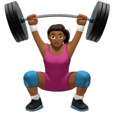 Woman Lifting Weights Emoji with a Medium-Dark Skin Tone, Apple style