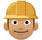Man Construction Worker Emoji with Medium Skin Tone, Facebook style