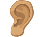 Ear Emoji with a Medium Skin Tone, Facebook style