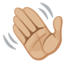 Waving Hand Emoji with a Medium-Light Skin Tone, Facebook style
