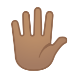 Raised Hand with Fingers Splayed Emoji with a Medium Skin Tone, Google style