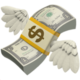 Money with Wings Emoji, Apple style