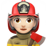 Woman Firefighter Emoji with Light Skin Tone, Apple style