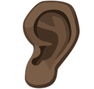 Ear Emoji with a Dark Skin Tone, Facebook style
