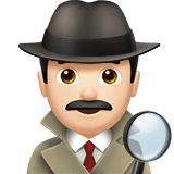 Man Detective Emoji with Light Skin Tone, Apple style
