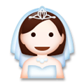 Bride with Veil Emoji with Light Skin Tone, LG style
