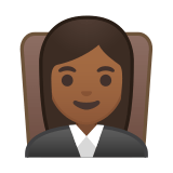 Woman Judge Emoji with Medium-Dark Skin Tone, Google style