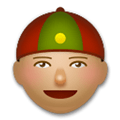 Man with Chinese Cap Emoji with a Medium Skin Tone, LG style