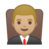 Man Judge Emoji with a Medium-Light Skin Tone, Google style