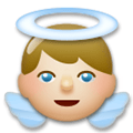 Baby Angel Emoji with a Medium-Light Skin Tone, LG style
