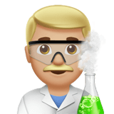 Man Scientist Emoji with a Medium-Light Skin Tone, Apple style