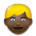 Blond-Haired Person Emoji with a Dark Skin Tone, LG style