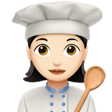 Woman Cook Emoji with a Light Skin Tone, Apple style