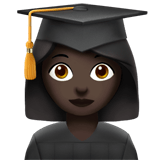 Woman Student Emoji with a Dark Skin Tone, Apple style