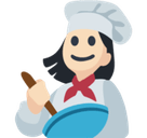 Woman Cook Emoji with Light Skin Tone, Facebook style