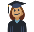 Woman Student Emoji with Medium Skin Tone, Facebook style