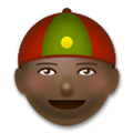 Man with Chinese Cap Emoji with a Dark Skin Tone, LG style