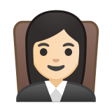 Woman Judge Emoji with a Light Skin Tone, Google style