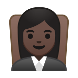 Woman Judge Emoji with a Dark Skin Tone, Google style
