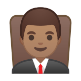 Man Judge Emoji with a Medium Skin Tone, Google style