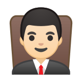 Man Judge Emoji with a Light Skin Tone, Google style