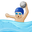 Man Playing Water Polo Emoji with Medium-Light Skin Tone, Samsung style