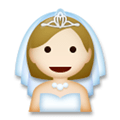 Bride with Veil Emoji with Medium-Light Skin Tone, LG style