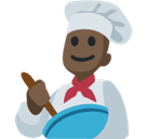 Man Cook Emoji with Dark Skin Tone, Facebook style