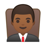 Man Judge Emoji with a Medium-Dark Skin Tone, Google style