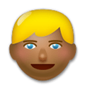Blond-Haired Person Emoji with a Medium-Dark Skin Tone, LG style