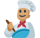 Man Cook Emoji with Medium Skin Tone, Facebook style