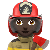 Woman Firefighter Emoji with a Dark Skin Tone, Apple style