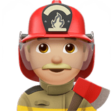 Man Firefighter Emoji with a Medium-Light Skin Tone, Apple style