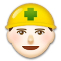 Construction Worker Emoji with Light Skin Tone, LG style
