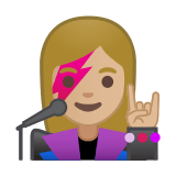 Woman Singer Emoji with a Medium-Light Skin Tone, Google style