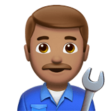 Man Mechanic Emoji with a Medium Skin Tone, Apple style