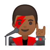 Man Singer Emoji with Medium-Dark Skin Tone, Google style