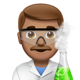 Man Scientist Emoji with a Medium Skin Tone, Apple style