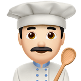 Man Cook Emoji with Light Skin Tone, Apple style