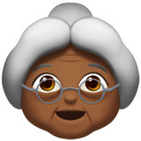 Old Woman Emoji with Medium-Dark Skin Tone, Apple style