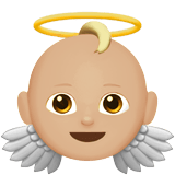 Baby Angel Emoji with a Medium-Light Skin Tone, Apple style