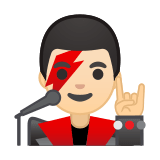 Man Singer Emoji with a Light Skin Tone, Google style