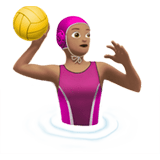 Woman Playing Water Polo Emoji with a Medium Skin Tone, Apple style