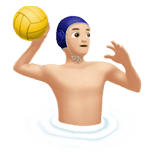 Man Playing Water Polo Emoji with Light Skin Tone, Apple style