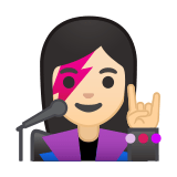 Woman Singer Emoji with a Light Skin Tone, Google style