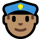 Police Officer Emoji with Medium Skin Tone, Microsoft style