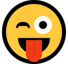 Crazy Emoji / Face with Stuck-Out Tongue & Winking Eye Emoji, Microsoft style