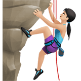 Woman Climbing Emoji with Light Skin Tone, Apple style