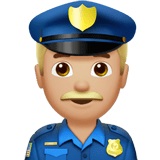 Police Officer Emoji with a Medium-Light Skin Tone, Apple style